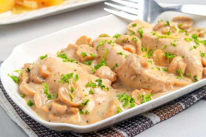 Aiguillettes de poulet aux champignons et crème au thermomix