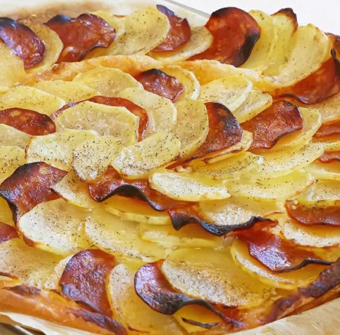 Tarte fine aux pommes de terre et chorizo au thermomix
