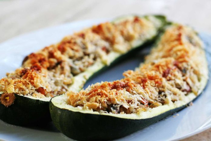 Courgettes farcies au jambon et champignons Weight Watchers