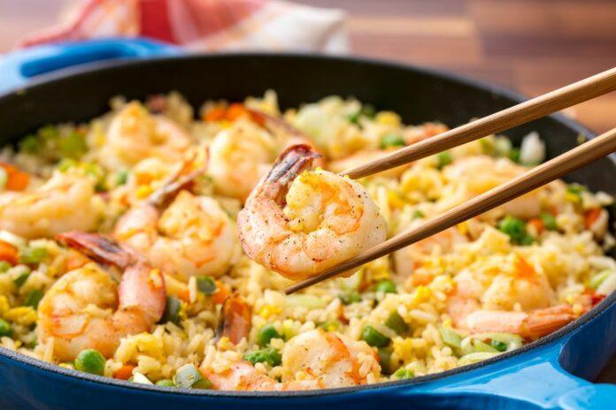 Riz aux crevettes, Petits Pois et courgettes au thermomix